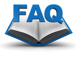 image of an open book with the letters FAQ above